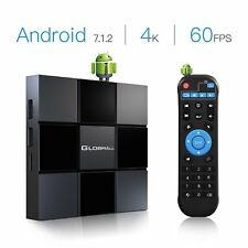 Android 7.1 Globmall X TV Box 4K/2.4GWiFi/H.265 Social Network On-line Movies TY