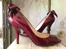 Deep Red Bow Enzo Angiolini 7.5M Womens High Heel Stiletto Shoes Open Toe