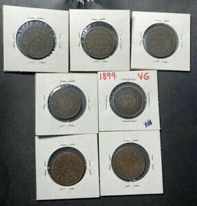Old Canada Coin Lot - 1859-1899 - LARGE CENTS - 7 Coins - Lot #F26