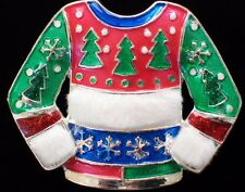 ENAMEL FUR SNOWFLAKE CHRISTMAS TREE UGLY SWEATER PARTY PIN BROOCH JEWELRY 1.75""