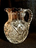 """American Brilliant Period Cut Glass Water 7""""  Pitcher Hobstars Fans EXCELLENT"""