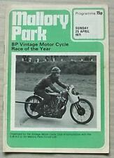 MALLORY PARK 25 Apr 1971 BP VINTAGE MOTOR CYCLE RACE OF THE YEAR Programme