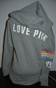 Victoria's Secret PINK Gray Rainbow Side Slit Full Zip Hoodie Sweatshirt S NEW