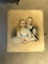 More details for james luntley (1827-1887) pastel 1870 signed dated two girls reading 80x69 cm