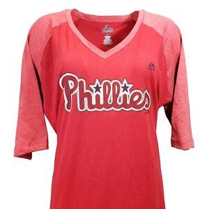 Philadelphia Phillies Women's Majestic MLB 1/2 Half Sleeve V Neck Tee Plus Sizes