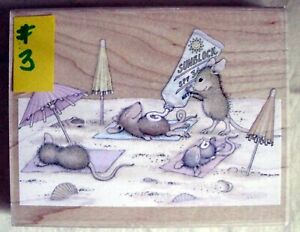 HOUSE MOUSE LG MOUNTED RUBBER STAMP - 2003 - CATCHIN' THE RAYS - MINT #3