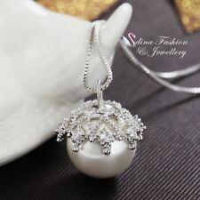18K White Gold Plated Stylish Crown Simulated Pearl & Diamond Necklace