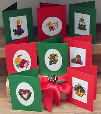 Christmas Set of 8 with Beads-Traditional-Cross Stitch Cards Kit