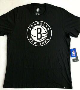 47 Brand Brooklyn Nets NBA Short Sleeve T-Shirt Men's Size 2XL Black 404933 New