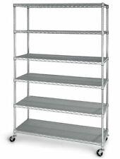 Seville Classics 18496ZN Commercial 6 Shelf Adjustable Steel Wire Shelf - Silver