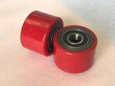 2xPolyurethane Pallet Jack/Stacker Front Roller Wheels 75x50mm + Bearings