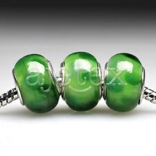 5/10pcs European Murano Glass Beads Lampwork Round Loose Fit Bracelet LB2 FB