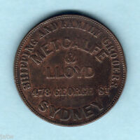 Australia Token. Metcalfe & Lloyd.. 1863 1d - Sydney NSW..   aVF