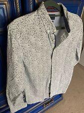 Cactus Man Ricky Singh long sleeve shirt floral Sz Small White Blue Dressy