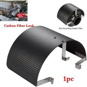 "Car 2.5""-5.5"" Cold Air Intake Filter Cover Heat Shield Carbon Fiber Look Metal"