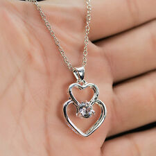 Chain Necklace Fashion Jewelry Silver Double Heart Gemstone Pendant