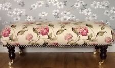 A Quality Long Footstool In Laura Ashley Hydrangea Pink Fabric