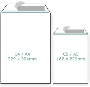 Plain White Envelopes Peel and Seal C4/A4 C5/A5 Postal Large Letter High Quality