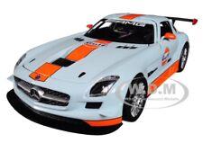 "MERCEDES BENZ SLS AMG GT3 ""GULF"" LIGHT BLUE W/ ORANGE STRIPE 1/24 MOTORMAX 79646"