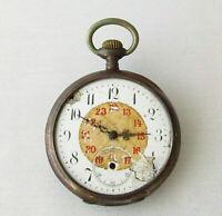 REMONTOIR Ancre Ligne Droite 15 Rubis Antique Silver Pocket Watch for repair