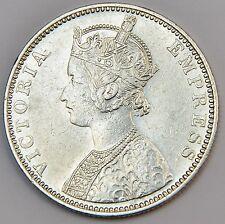 """1892 British India Silver 1 Rupee Coin - Victoria - High Grade - """"B"""" Incuse"""