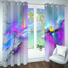 Window Curtains Dorm Bedroom 3D Curtains Abstract Ombre Nebula