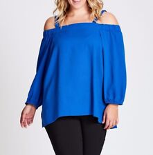 Plus Size Autograph Blue 3/4 Sleeve Off The Shoulders Top Size 16 Free Post