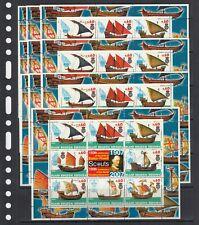 Ships Fleet Vessels Scout 2005 Redonda MNH 8 v M/s №1  perf X 10 Wholesale lot