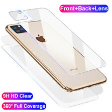 For iPhone 11 Pro Max XS 9H Front+Rear+Camera Lens Tempered Glass Film Protector