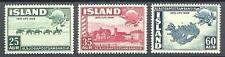 Iceland 1949 Sc# 253-55 Pack train Horses Reykjavik UPU monument Map MNH
