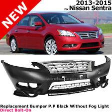 For Nissan Sentra 2013-2015 Front Bumper Cover w/ Chrome Grille 4 Door Sedan
