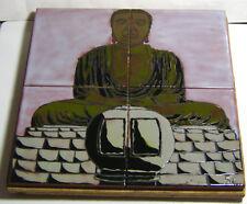 Buddha Tile Mural on Wood Handmade Tiles Stoneware