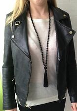 Long black agate beads silk tassel necklace, long tassel necklace, black onyx.