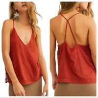Free People Women's Blouse Bright Lights Cami Top Scarlet Red & Black $68 Sexy