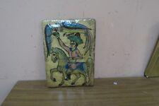 Antique Persian Qajar Iznik Islamic Glazed Pottery Hunting Scene Tile Plaque 6x8