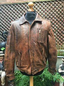 "Vintage 2-1 brown leather weathered Flight bomber Casual zip jacket men's 42"" M"