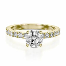 14K Solid Yellow Gold Round 1.35 Carat Diamond Wedding Rings Size I H J K L M