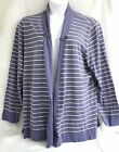 Lord and Taylor Sweater Blue Striped Open Cardigan Button tab Detail Plus Sz 3X