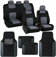 13pc Set Car Seat Covers Protection Set Black / Gray Two Tone Carpet Mats