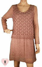 Made in Italy - abg132 - Dusky Pink Fitted Lace Dress