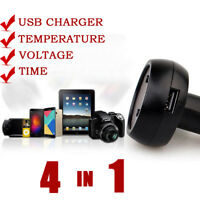 4 in 1 Car thermometer Clock Cigarette Lighter Type Voltmeter Voltage Meter