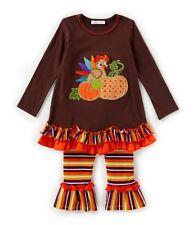 Bonnie Jean Little Girls Thanksgiving Brown Ribbon Turkey Legging Set 4 5 6 6X