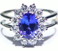 3.16ct 14k ORO Tanzanita Natural Diamante Vintage AAA Anillo Compromiso Boda