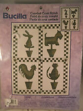 Bucilla Animal Topiary Counted Cross Stitch Kit Cat Dog Rabbit Rooster New