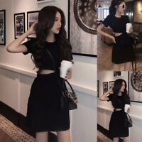 Women's Casual Short Sleeve Sexy Round Neck Evening Cocktail Party Mini Dress