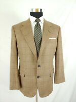 Vintage Bespoke Tom James USA Brown Tan Windowpane Wool Sport Coat Blazer 38R