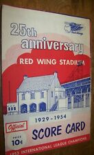 1954 25 ANNIVERSARY RED WING STADIUM MINOR LEAGUE BASEBALL PROGRAM ROCHESTER NY