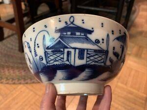 18th century English Pearlware Toddy Bowl Blue & White Oriental Scene 1780-1820