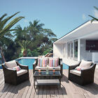4pcs Patio Furniture Set Outdoor Garden Cushions Rattan Chair Sectional Sofa New