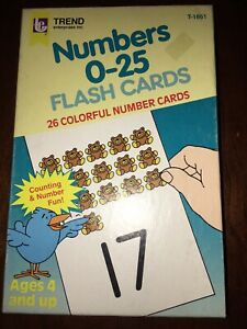 VTG 1985 Trend Numbers 0-25 Flash Cards Ages 4 and up